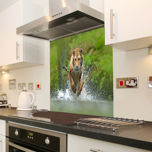 Siberian tiger running in the water_678004963_splashback