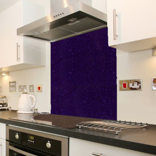 Purple Galaxy Sparkle Glass splashback