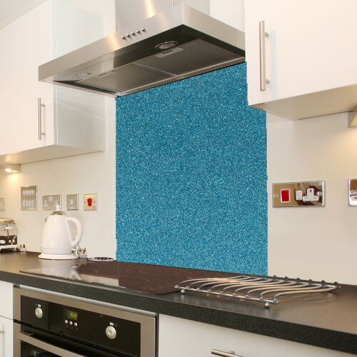 Cool Blue Sparkle Glass Splashback