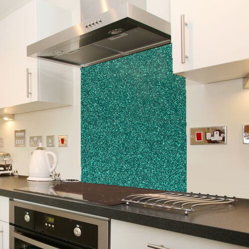Green Galaxy Sparkle Glass Splashback
